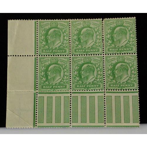 Great Britain Edward VII Marginal Block of 6  1/2d Pale Yellow Green SG 217