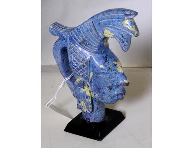 Carved Blue Stone Azrec Warrior Sculpture on  Black Stone Plinth.. Height 18 cm.