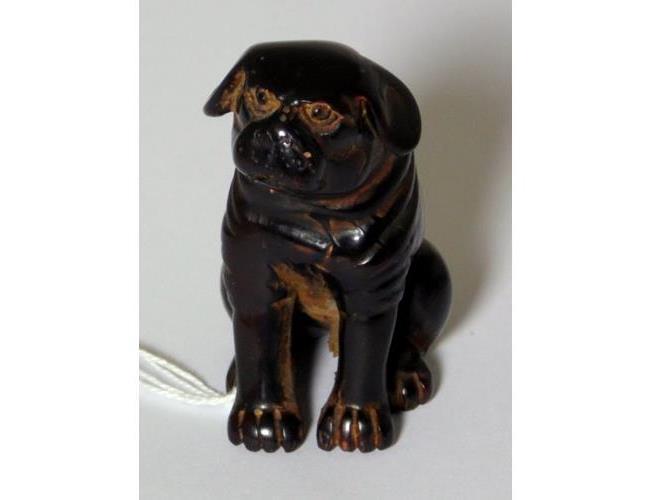 Antigue Japanese Carved Wooden Pug Dog  Netsuke.