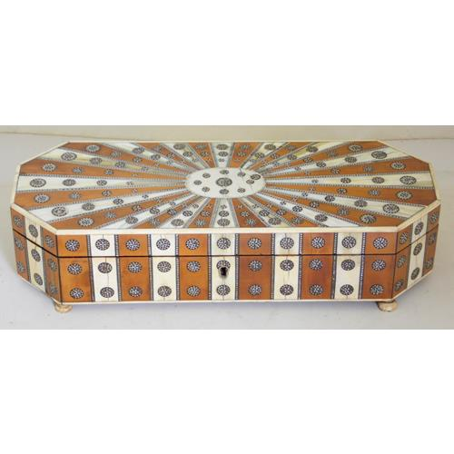 A late19th Century Large Anglo Indian Sadeli  Ware Octagonal Box