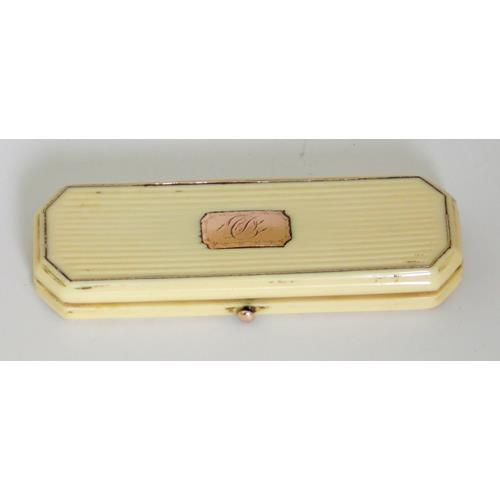A Georgian Rose Gold and Ribbed Ivory  Toothpick Box.