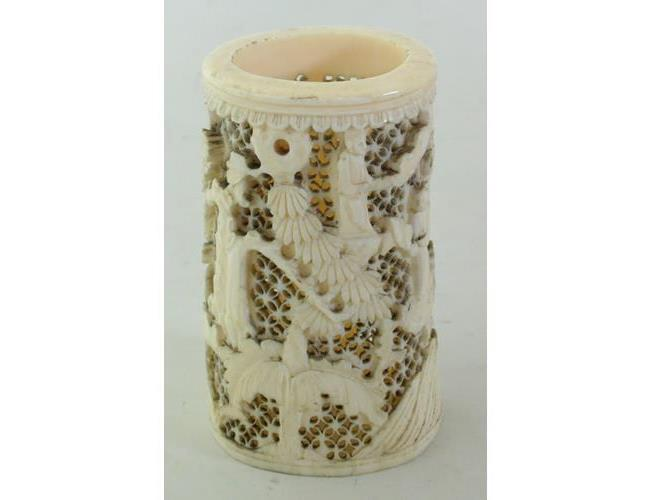 A Signed Chinese Antique Carved and  Retriculated Ivory Brush Pot. 19thc.