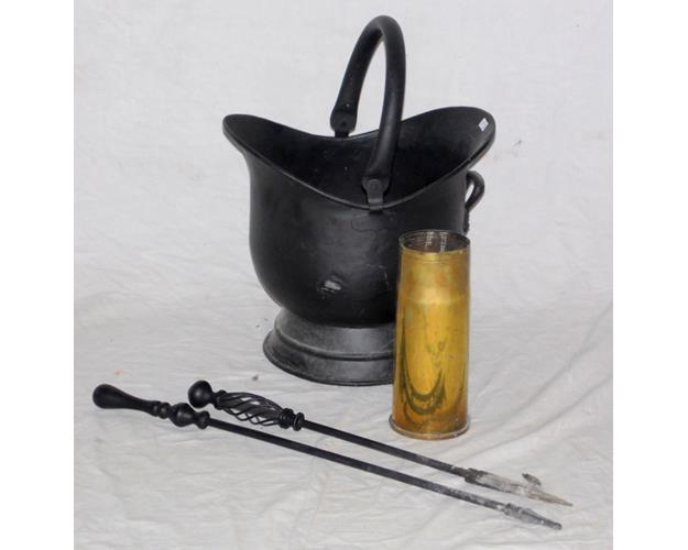 Metal Helmet Coal Bucket with Fire Irons and  a Brass Military Shell Case