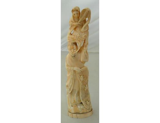 Antique Oriental Carved Ivory Sculpture of a  Two Figure Group