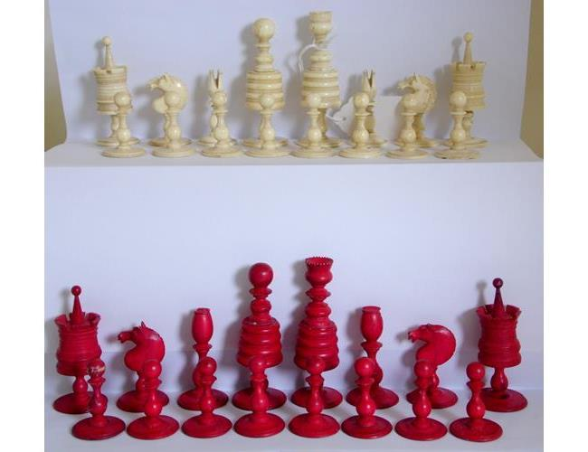 Complete Antique Hand Carved Ivory Chess Set.