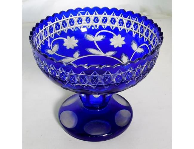 Vintage Bohemian Cobalt Blue Cut to Clear  Glass Pedestal Bowl/Comport Height  19 cm
