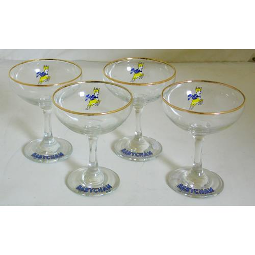 Set of 4 Babycham Glasses. Circa1950s.