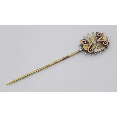 Victorian Silver & Gold Mounted Cravat  Pin.Length 7 cm. Boxed.
