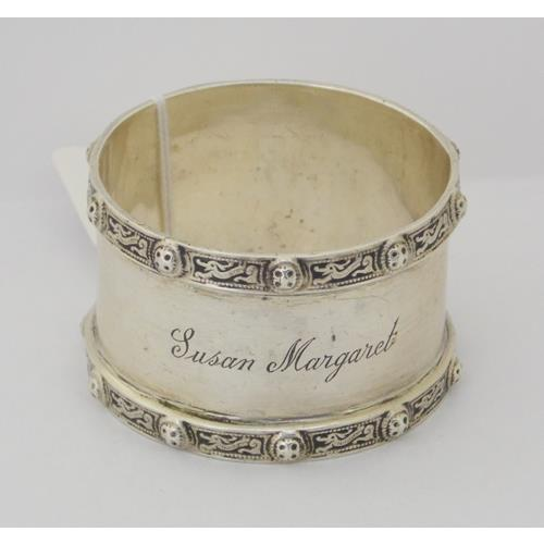 Sterling Silver Napkin Ring Decorated with  Norse Dragons by Adie Brothers.
