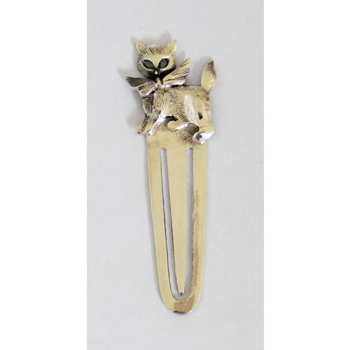 Sterling Silver Kitten with Bow Tie Bookmark.  Marked .925.  Boxed.