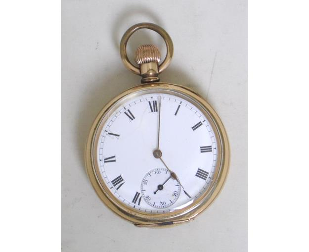 14 CT Gold Plated Waltham Riverside 15 Jewel  Open Face Pocket Watch.