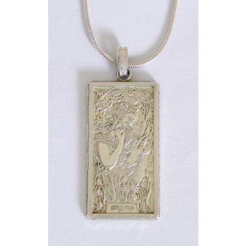 Art Nouveau Style Sterling Silver Ingot  Pendant on 18 inch Silver Chain.