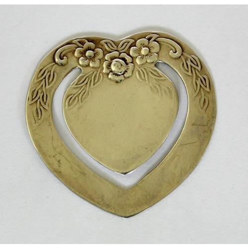 Sterling Silver Heart Bookmark with Repousse  Floral Decoration.