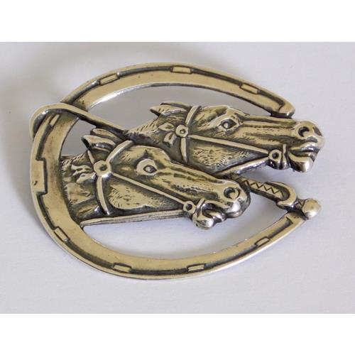 Sterling Silver Equestrian 'Lucky Horseshoe'  Brooch
