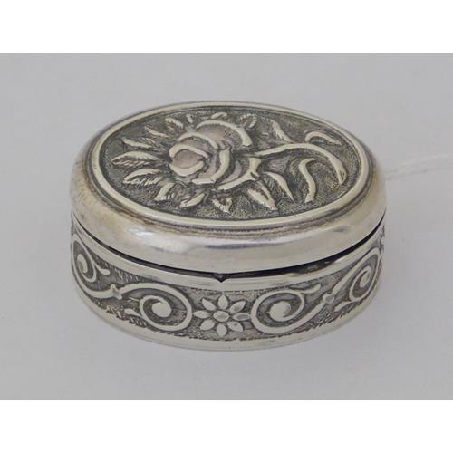 Sterling Silver Oval Pill Box with Hinged  Cover