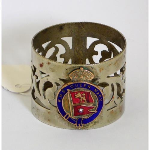 Scarce Silver Plate EPNS & Enamel 'RMS Queen  Mary' Napkin Ring.
