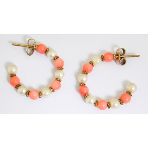 A Pair of 9ct Yellow Gold Pink Coral and Seed  Pearl Earrings. Marked 9ct.