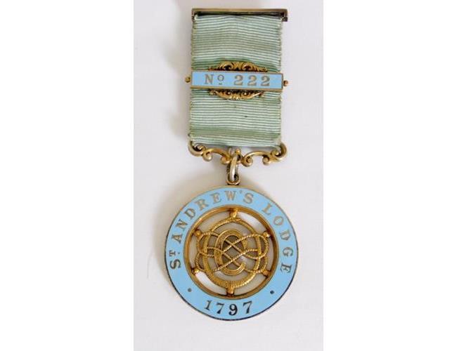 Silver Gilt & Enamelled Masonic Jewel St  Andrew's Lodge 1797 No.222' .