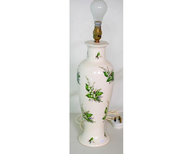 Vintage English Ceramic 'Lilly of the Valley'  Decorative Lamp Base.