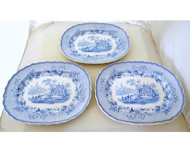 Rare Set of 3 Antique Davenport 'Mecca' Blue  &  White Meat Platters.