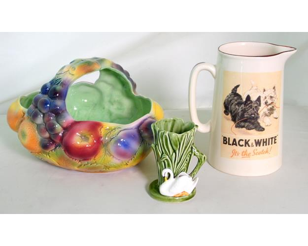 Sylvac No:414  Fruit Basket. Sylvac Swan   Posy Vase 'Riverside Range'