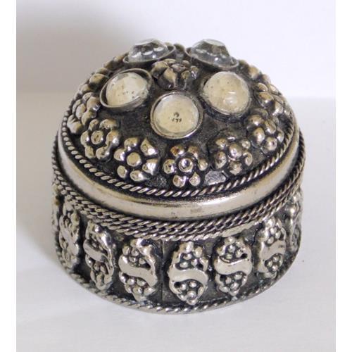 Asian White Metal Circular Ring/Trinket Box