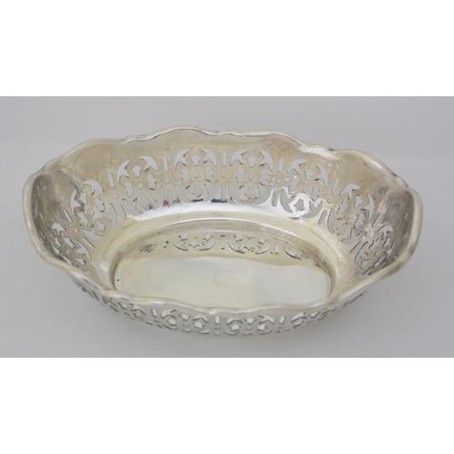 Sterling Silver Oval Pierced Bon Bon Dish by  Barker Brothers.