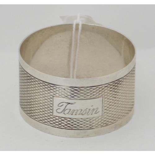 Sterling Silver Engine Turned Napkin Ring by  Bishton's Ltd.