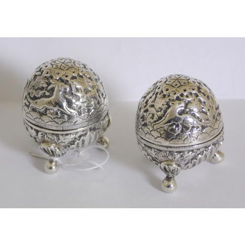 A Pair of Antique Continental Repousse Egg  Shaped Cruets
