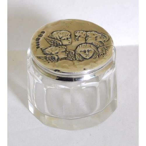 Edwardian Rouge Pot  with Sterling Silver  'Reynolds Angels' Cover