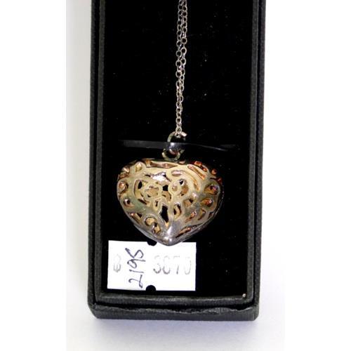 Sterling Silver Art Nouveau Style Heart  Shaped Pendant & Chain.