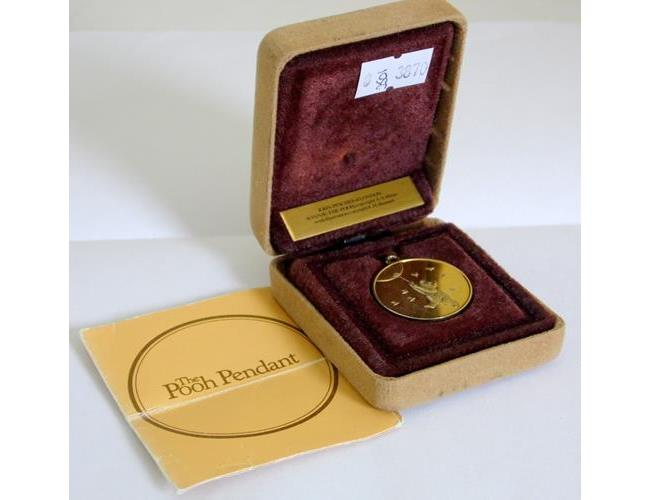 John Pinches 24ct Gold Plated Silver  'Winnie  the Pooh' Pendant.