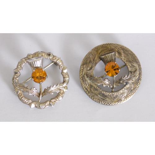 Two Sterling Silver Scottish Thistle Brooches  Mounted with Gold Citrines