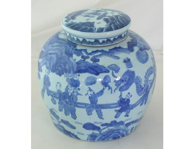 Large Chinese Kangxi Blue and White Ginger  Jar / Cover.  20thc.