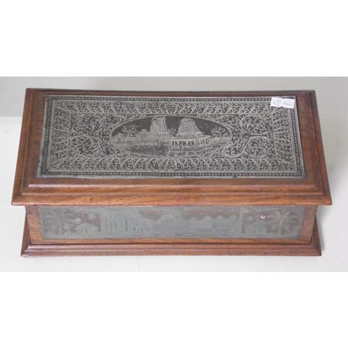 ANTIQUE ANGLO INDIAN Koftgari DAMASCENE  BIDRIWARE Rosewood Box
