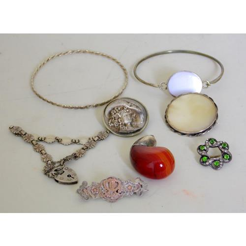 Collection of Silver Jewelry to Include:  Victorian Silver/Gold Brooch.