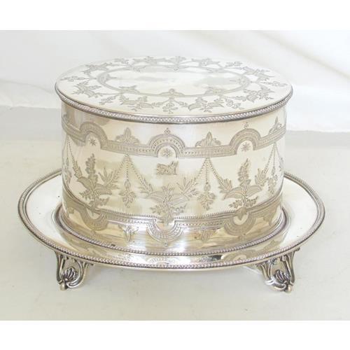 Good Antique Elkingtons Silver Plate EPNS  Engraved Oval Biscuit Box