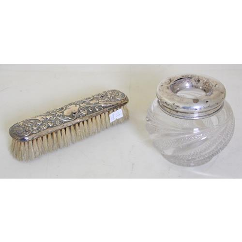 Edwardian Silver Topped Crystal Hat Pin Jar  and a Silver Backed Clothes Brush.