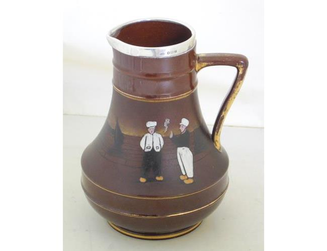 Antique Taylor Tunnicliff 'Dutch Scene'  Silver Mounted Jug