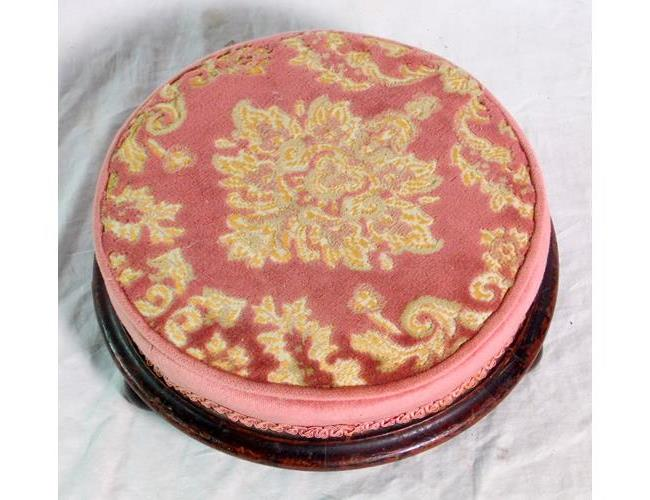Victorian Circular Footstool with Padded Top.