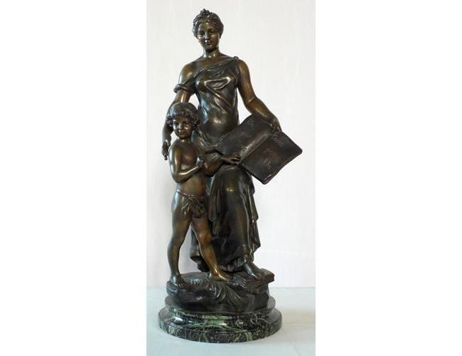 Large Antique Paris France Spelter Sculpture  of 'Goddess & Child'