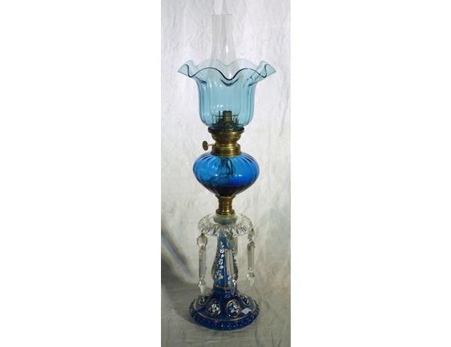 Antique French Enamelled Blue Glass, Lustre  Single Burner Oil Lamp. 19thc.