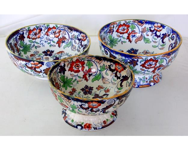 Antique Amherst Japan Imari Ironstone Fruit  Bowls x 3.