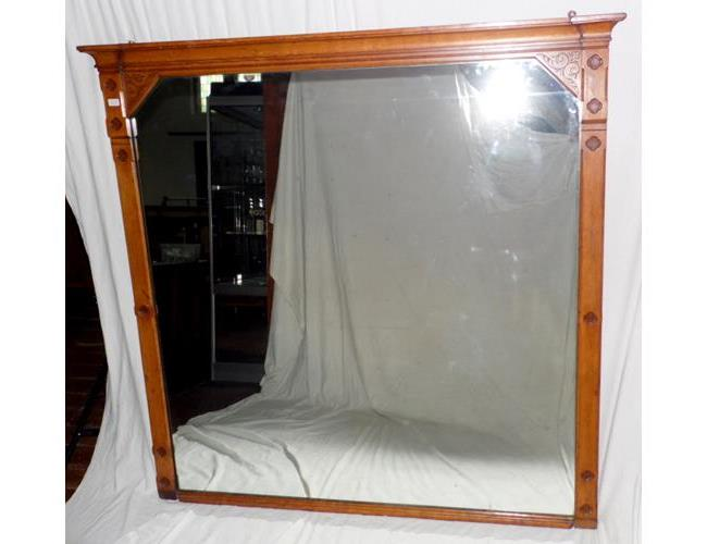 Large Victorian Oak  Overmantle Mirror.  Circa1880s.  65 x 66 Inches.