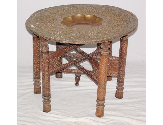 An Asian Circular Impressed Brass Tray Top  Table