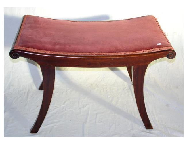 Antique Mahogany  Piano Stool Having Sabre Legs and Scroll Ends. Early 1900s.