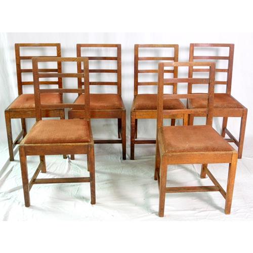 Antique Set of 6 Farmhouse Ladder Back Oak  Dining Chairs. Early 1900s.