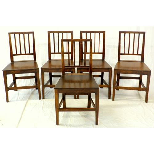 Antique Set of 5 Georgian Mahogany Country  Chairs.18th/19thc.