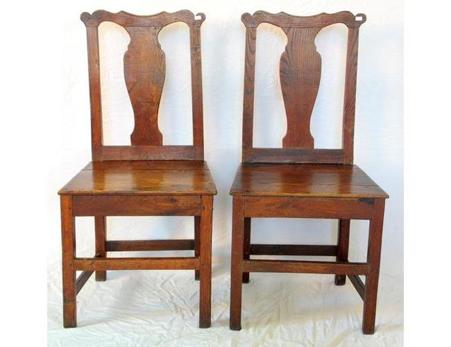 18thc  Pair of Georgian Welsh Country Oak  Chairs.