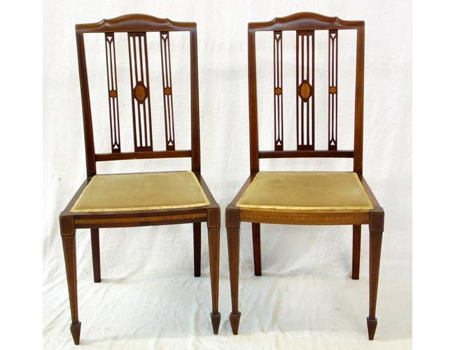 A Pair of Edwardian Sheraton Style Inlaid  Mahogany Bedroom/Side Chairs.